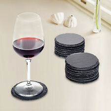 8pcs Set Rustic Natural Slate Round Coasters Coffee Mug Drinks Cup Table Mat