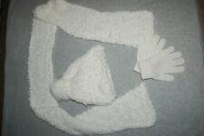 Girls Off White 3 Pc Set Soft Fuzzy Scarf Fleece Lined Hat w/ Pom Stretch Gloves