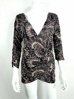NEW Vero Moda Top V Neck Sz L Large 3/4 Sleeve Black / Purple
