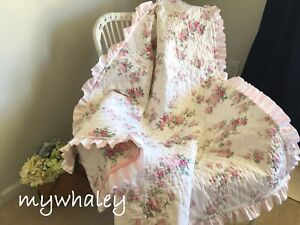 NEW BABY QUILT BLANKET Throw made w/Simply Shabby Chic Blooming Blossoms Ruffles