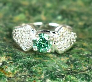 3.32 Ct Green Diamond Solitaire Halo Men's Engagement Ring