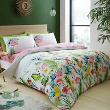 cb4a4cfc7b9c LEILA TROPICAL DOUBLE DUVET COVER PILLOWCASE SET - REVERSIBLE, FLAMINGO,  FLOWERS