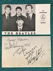 Beatles Signed Parlophone Card