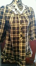 💙Pretty JACK WILLS Ladies Blue/Grey Check Blouse/Shirt, Size 8💙