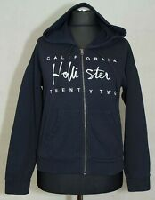 WOMENS HOLLISTER HOODY ZIP NAVY SIZE M ( + SIZE) GC