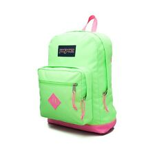 """NWT JANSPORT """"CITY SCOUT"""" 15"""" LAPTOP BACKPACK/BOOK BAG FLUORESCENT GREEN/PINK"""