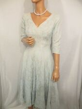 ORIGINAL VINTAGE 1950s PALE BLUE LACE FULL SWING JIVE EVENING DRESS UK:8/10