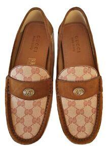 GUCCI Chaussures Homme Mocassins Tissu Gg & en Daim 529879 KY990 8376 Beige