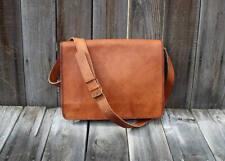 """15"""" New Men's bag Leather Vintage Brown Messenger Shoulder Laptop Bag Briefcase"""