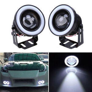 """2pc 2.5"""" White LED COB Halo Angel Eye Rings Autos Fog Light Projector Lamps 64mm"""