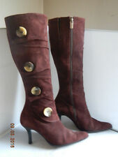 V.O.Z VOZ Candence High Heel Boot Brown Suede Leather Zip Button Womens size 8M