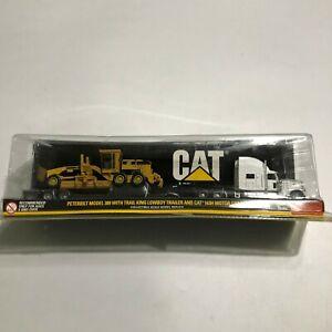 Peterbilt 389 Trail King Lowboy Trailer Cat 163H Motor Grader NIB 1:87