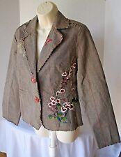 PAPARAZZI Women's Embroidered Jacket Blazer Plaid Flowers Frayed Edges Medium