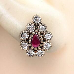 Deco .80ct Ruby & Diamond Cut White Sapphire 14K Yellow Gold 925 Silver Earrings