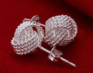 925 Sterling Silver Mesh Intertwined Personality Beautiful Women's Earrings