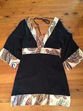 Seduce Kimono Sleeve Silk Tunic Top Sz 12