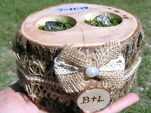 Log Outdoor Wedding RING bearer BOX - Rustic WOODLAND Ring Holder - Personalized