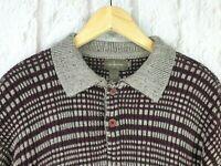 Mens Calvin Klein Khakis Burgundy Checked Collared Wool Jumper Sweater Large VGC
