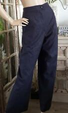 Auth CHANEL Womens Navy Wool Trousers Pantalons Classic Slacks FR50 AUD16-18 XXL