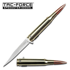 TAC FORCE 50 Cal Bullet Motif Knife Assisted Open 440 Stainless Steel Brass