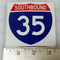 """Texas Oklahoma Southbound 35 Interstate route sign sticker decal 3.3""""x3.3"""""""