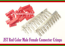 10 SETS JST 2.5mm 2-Pin Male Female Connector Red Color with male female Crimps