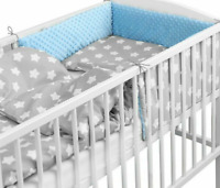 BABY 6PC BEDDING SET PILLOW DUVET BUMPER FIT COT 120x60cm Dimple Blue/Big Stars