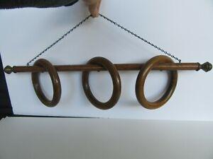 Antique Victorian Oak (3) Swivel Ring / Hoop Hanging Towel Rack