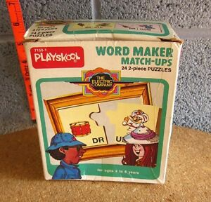 WORD MAKER Match-Ups educational Electric Company 2-piece puzzles 1977