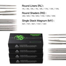200 Sterile Tattoo Needles Kit Steel Round Liner Shader Varied Sizes Supplies E