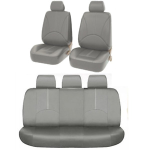 PU Leather Seat Cover Protector Pad Gray Full Set Fit For Car Front Rear Seat