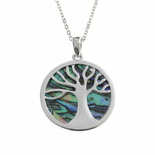 "Paua Shell Tree of Life Necklace 18"" Chain Rhodium Plated Gift Box"