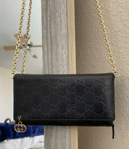 Gucci GG Black Monogram Supreme Black Leather WOC Wallet Crossbody Guccissima