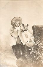 BJ251 Carte Photo vintage card RPPC Enfant mode fashion chien dog décor studio