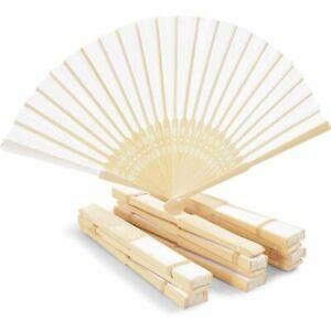 12 Pack Bamboo Hand Fan for Women, 8 Inch White Folding Hand Held Fan
