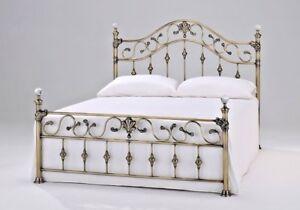 "LAVISH ELIZABETH BRASS EFFECT BED FRAME BEDSTEAD IN 4FT6"" DOUBLE**FREE DELIVERY*"