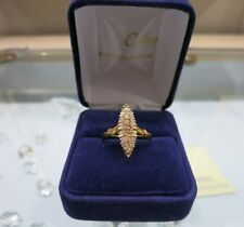 Marquise or jaune et diamants./Ring 18 carat yellow gold with diamonds.
