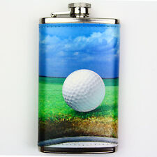 Leather Wrapped 6oz Stainless Steel Hip Flask FSK200 Golf Ball on Lip of Cup