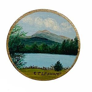 hand painted vintage new hampshire landscape mountain lake scenic brooch pin
