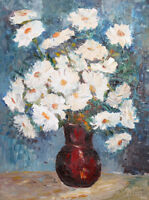 European art oil painting still life with flowers 1990 signed