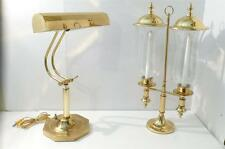 Hollywood Regency Brass Piano Lamp Matching 2 Arm Hurricane Candleabra w Covers