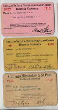 3 Chicago Milwaukee & Omaha Railroad passes 1916, 1922, 1922