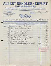 ERFURT, Rechnung 1932, Tischlerei-Bedarfs-Artikel Albert Rendler