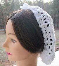 Civil War Dress Victorian Accessories Lady'S White 100% Cotton Crochet Snood~Net