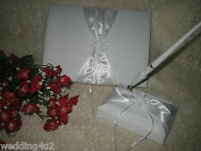 Wedding Winter Party Ceremony ~Snowflake~ Guest Book & Pen Base 3 Psc Set White