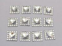 200 Clear Acrylic Flatback Square Rhinestone Gems 10X10mm Embellishments