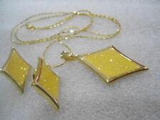 US Vintage Diamond Yellow  Sparkilng Enamel Necklace Earrings Jewelry Set 1980's