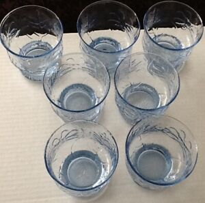 LIBBEY Country Garden BLUE Juice Glasses - Set of 7