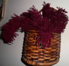 Vintage Rustic Country Wicker Wall Basket Home Decor Dried Burgundy Floral Decor