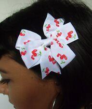 Pince clip cheveux noeud blanc cerises forme coeurs rétro pinup rockabilly